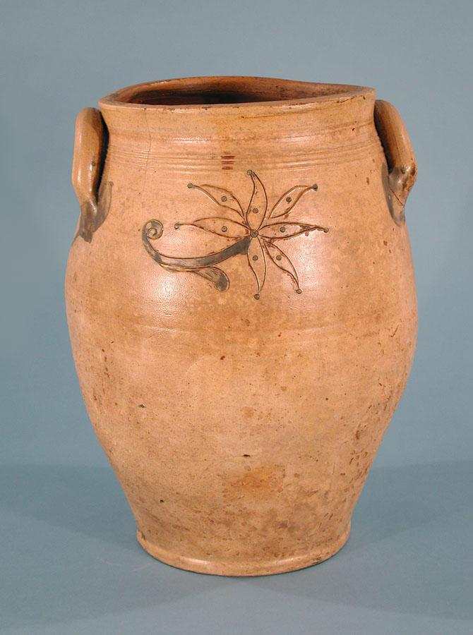 Salt-glazed stoneware jar. Made by Armstrong & Wentworth, 1814-1834. A typical example of the utilitarian pieces produced by this firm.