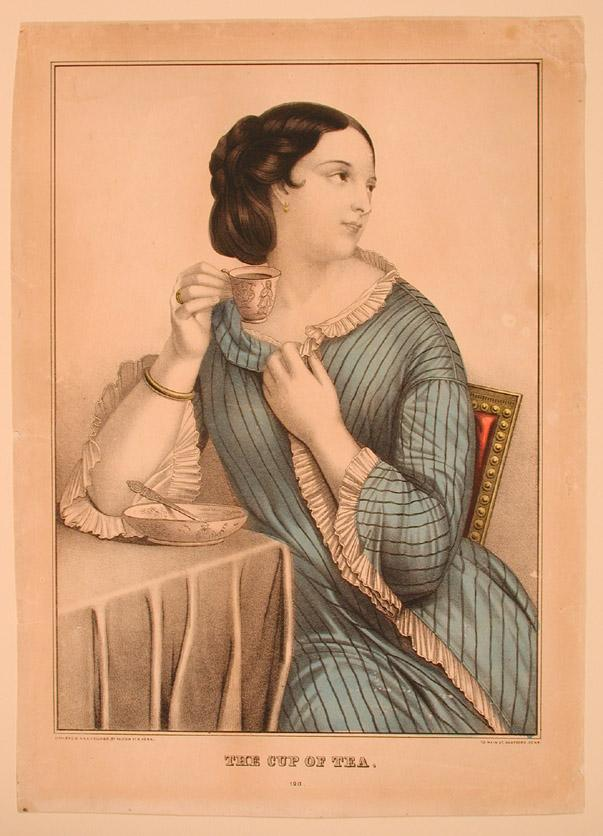 The Cup of Tea. This Kellogg print shows a young woman enjoying a warm drink before dressing for the day.