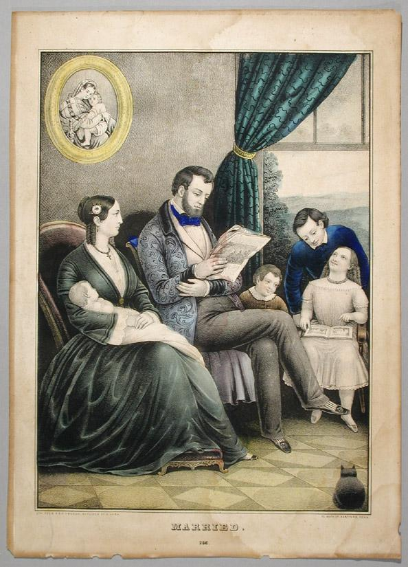 Married. This lithograph gives a glimpse into a mid-nineteenth-century happy home.  The gentleman relaxes and reads the newspaper in his dressing gown.