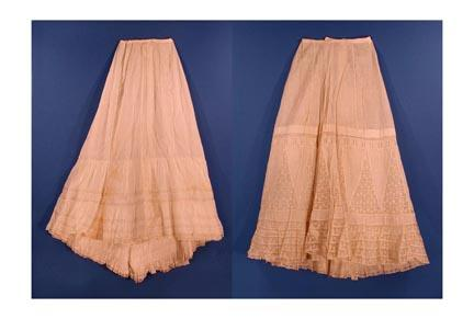 Wedding Petticoat, 1901 and Petticoat, about 1900. Delicate and intricate undergarments like these inspired the lingerie dress. The Connecticut Historical Society, Gift of Mrs. Elisha H. Cooper, 1957.49.14 and Gift of Percy H. Goodsell, Jr., 1961.64.107.