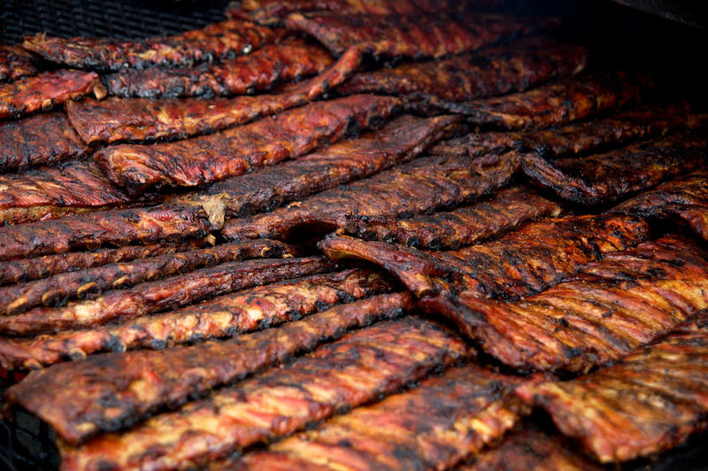 Racks of barbecue ribs.