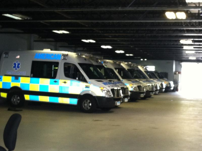 A fleet of ambulances from American Ambulance Service in Norwich, Connecticut.