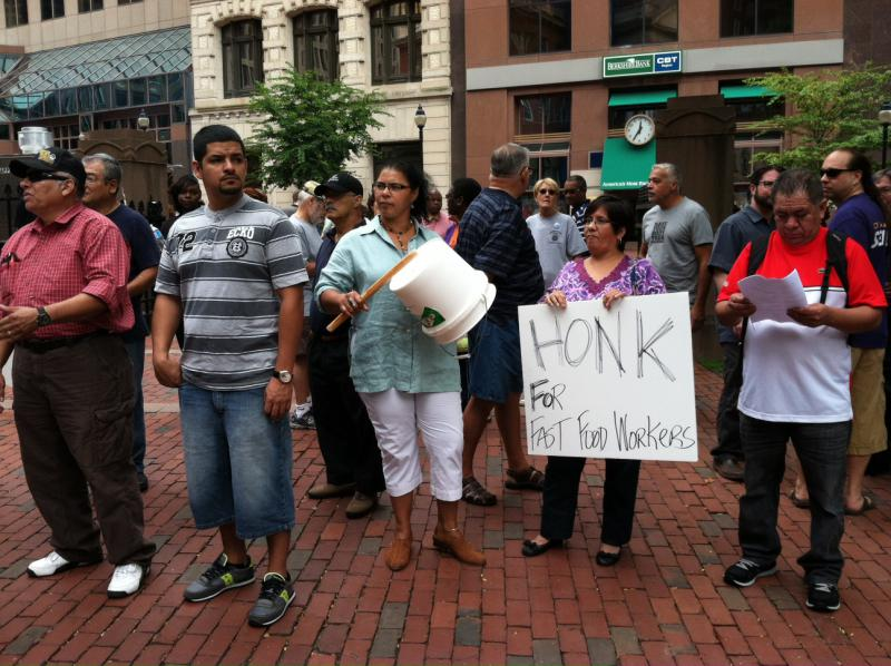 Fast food workers rally in Hartford during a previous one-day strike