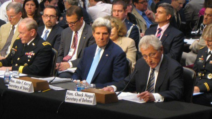 U.S. Secretary of State John Kerry and Secretary of Defense Chuck Hagel addressing the Senate Foreign Relations Committee Tuesday.