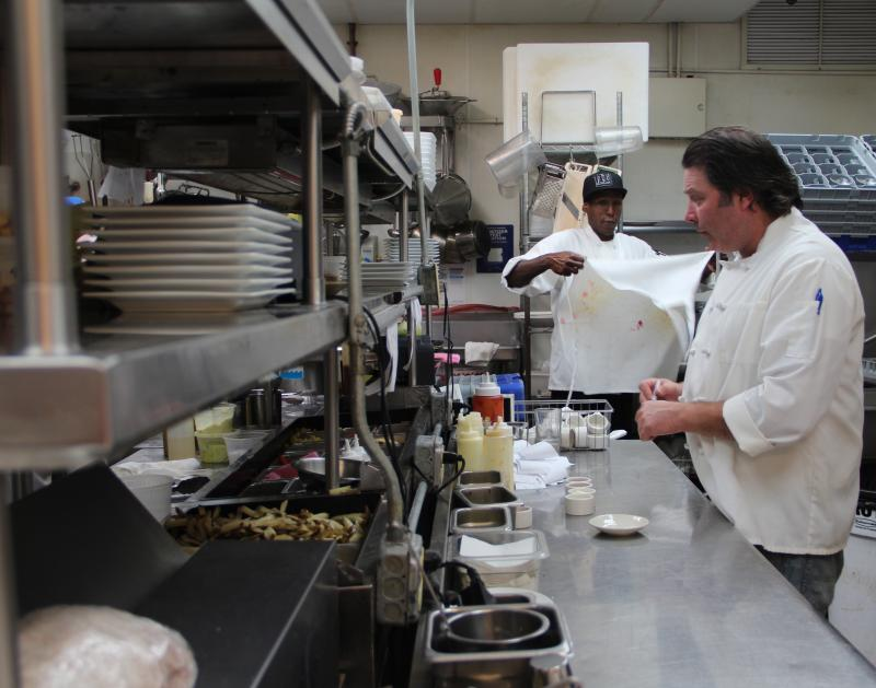 "Firebox executive chef Sean Farrell, at right. Even though organic, local ingredients are more expensive, business is booming. ""We've seen a 20 percent growth across the board in sales throughout this full year,"" Farrell said."