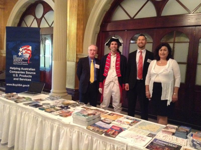 Officials at a trade mission in Sydney included one dressed as Nathan Hale.