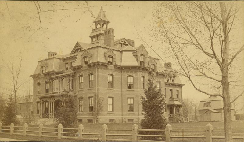 The Chinese Educational Mission Building in Hartford, 1887. This photograph shows the building at 352 Collins Street, Hartford after it had become Bowen's School for Boys.