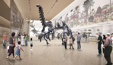 Artist's rendering of Peabody's Great Hall of Dinosaurs after $30 Million Renovation