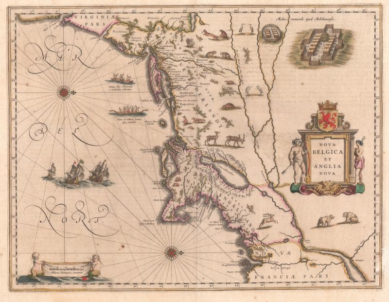 New Netherlands and New England. Map published by Willem Blaeu, Amsterdam, 1635.
