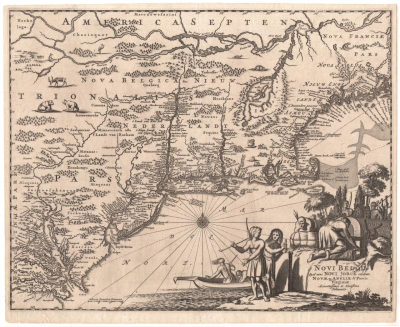 New Amsterdam, or New York.  Map from The New and Unknown World, by Arnoldus Montanus, Amsterdam, 1671.