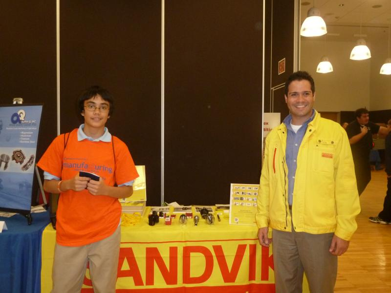 Amir Butcher from Teachers' Memorial Middle School stopped by to check out the tools at Sandvik Coromant.