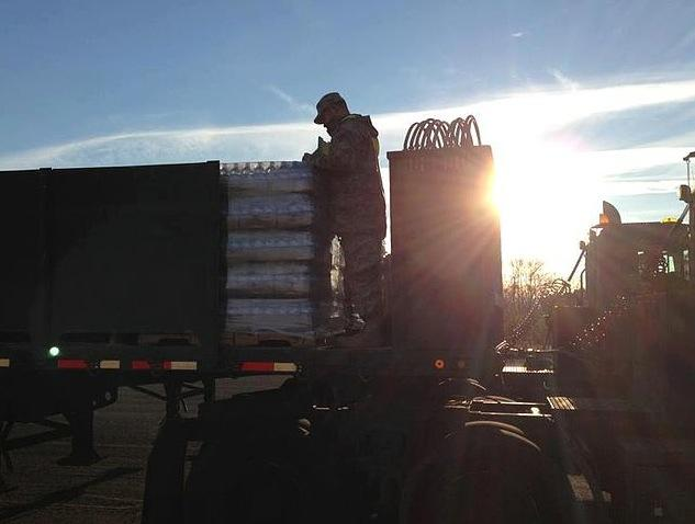 The Connecticut National Guard was an assistance statewide during the Sandy aftermath. On November 1, 2012, emergency supplies were loaded onto trucks at dawn to make deliveries.