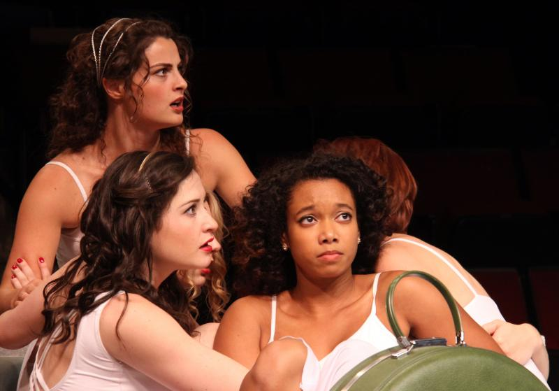 "Actors Marisa Desa as Olympia (lower left), Briana Maia as Lydia (right) and Olivia Saccomanno as Thyona (upper left) in ""Big Love."""