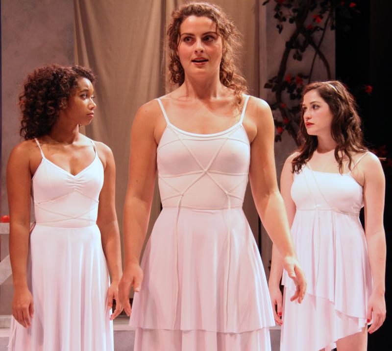 "Actors Briana Maia, Olivia Saccomanno, and Marisa Desa (L to R) in ""Big Love."""