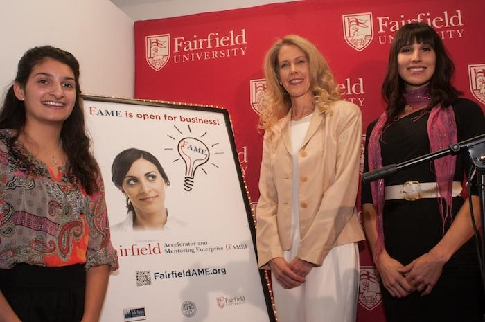 The incubator aims to help future entrepreneurs, such as, from left to right: Jamie Ramerini and Daphne Dixon, both of Fairfield, who are working on home automation; and Nicole Juliano Peranick of Stamford, founder of Conscious Decisions.