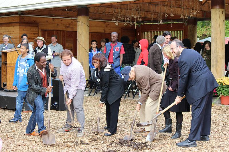 A groundbreaking Tuesday marked an expansion at Common Ground High School in New Haven. From left, Frank Mitchell, board chair; student Mettao Feliz; State Rep. Toni Walker; William Curran, donor; Melissa Spear, executive director; and Stefan Pryor.