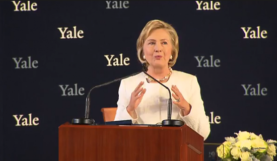 Hillary Clinton speaking at Yale Law School on Saturday.