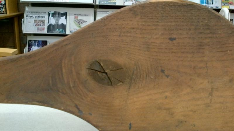 A closer look at the wicket bat. There were no manufacturers of wicket bats. Each team made their own bats.