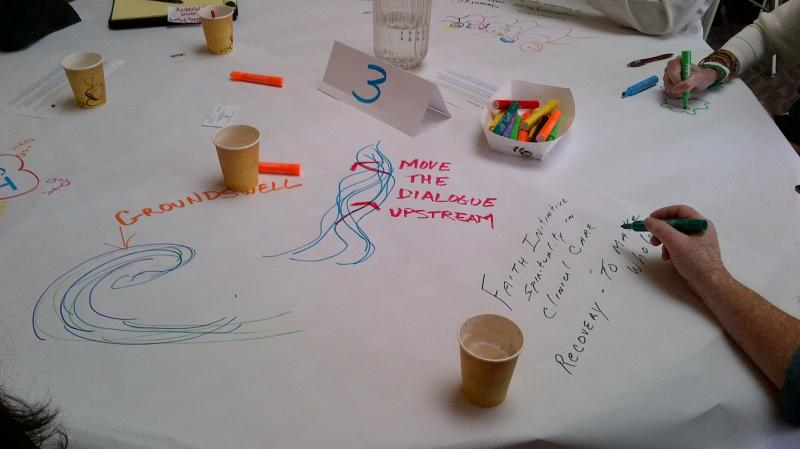 "Participants of ""Building a Coalition for Peace"" brainstorming in the World Cafe session."