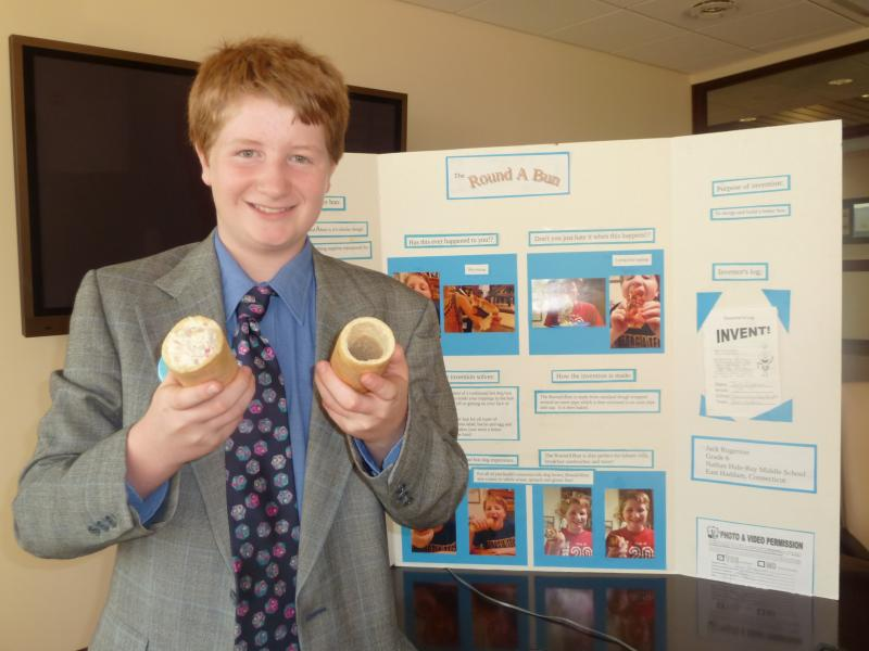 Jack Rogerson, 7th grade, Nathan Hale-Ray Middle School, invented a sealed tubu-shaped bun to prevent toppings from spilling over.