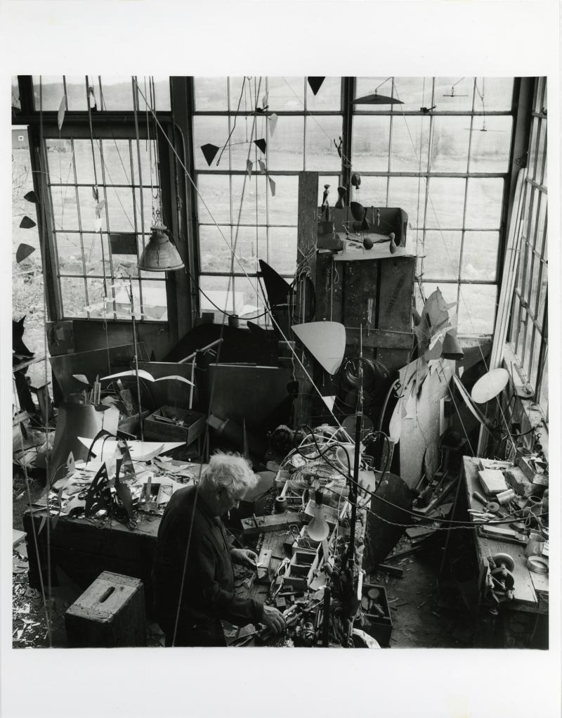 Alexander Calder in His Studio, Roxbury, Connecticut. Photograph by Rosalie Thorne McKenna. 1958. The Connecticut Historical Society, 2011.344.1040. © The Rosalie Thorne McKenna Foundation.