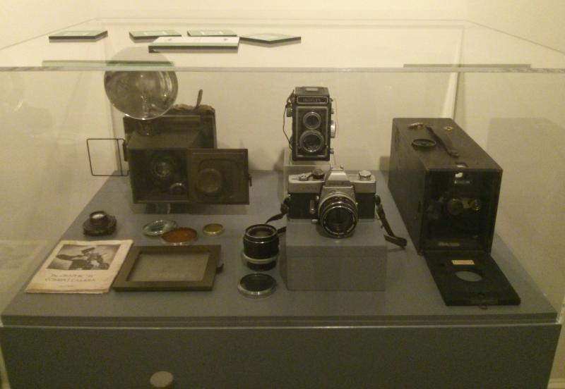 Twentieth-century camera equipment on display at the Connecticut Historical Society.