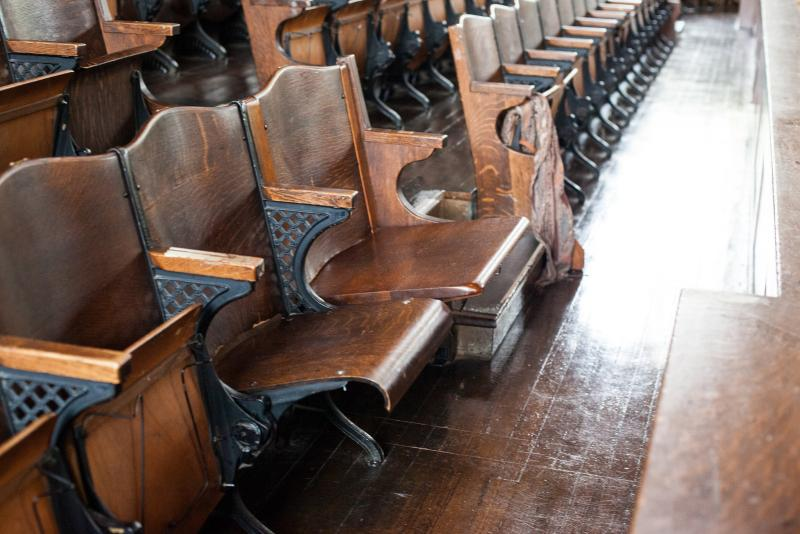William Taft's seat in Woolsey Hall at Yale.