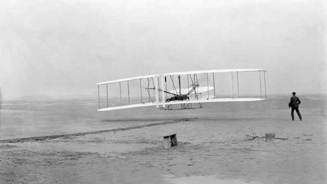 The Wright brothers in Kitty Hawk, North Carolina.
