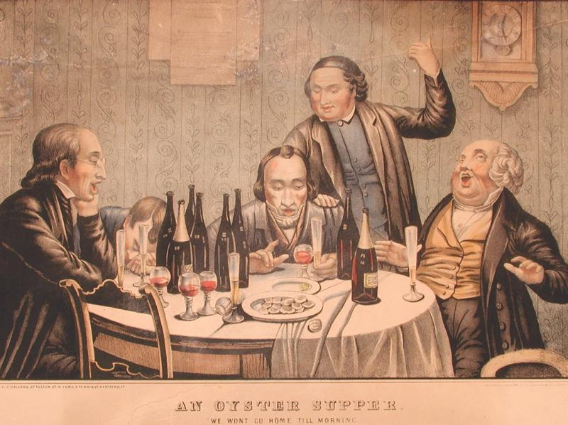 An Oyster Supper, 1852-1853. Hand-colored lithograph by Elijah Chapman Kellogg . Oysters were a popular food in Connecticut during the 19th century.