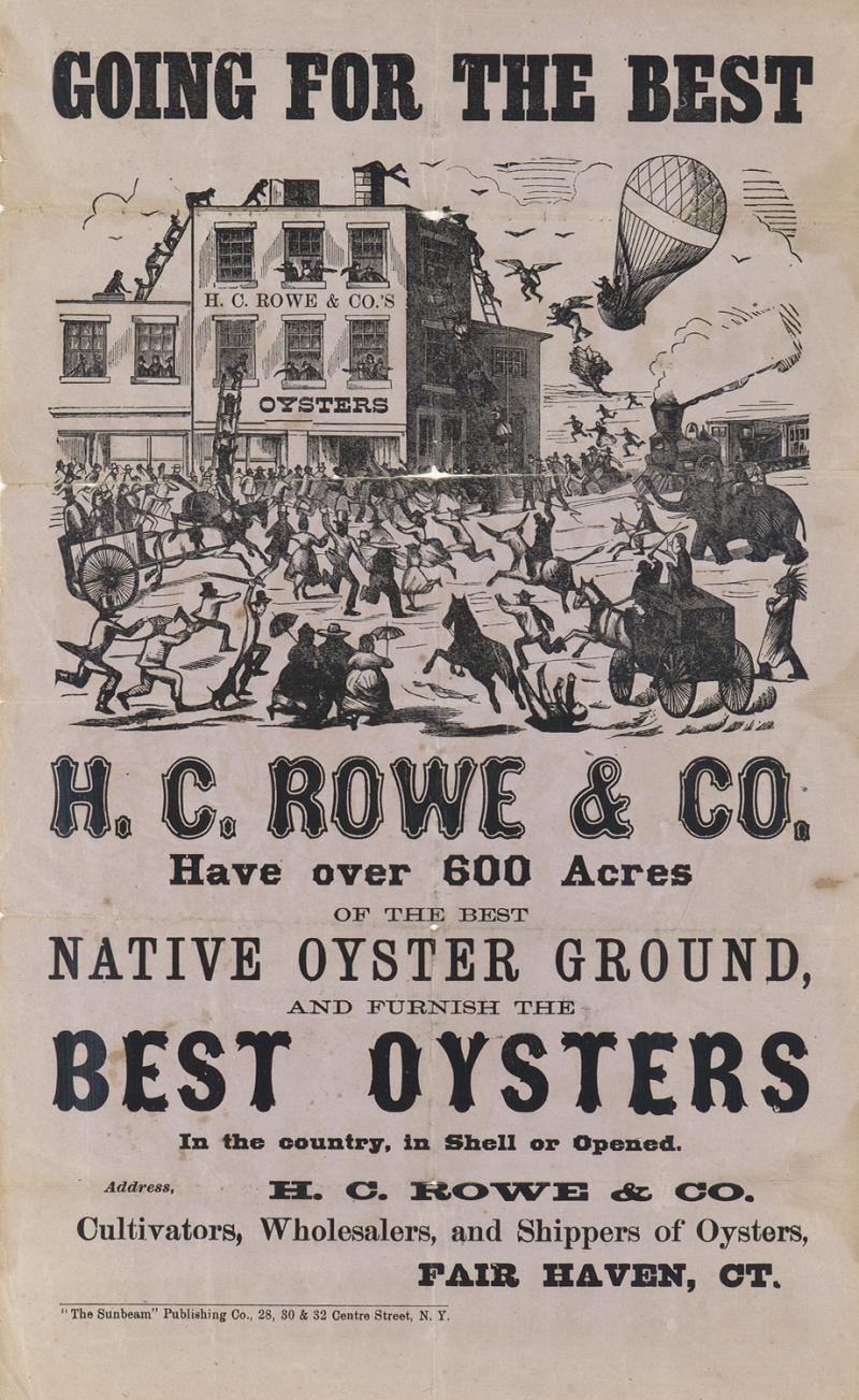 Going for the Best! Broadside for H.C. Rowe and Co.,1880s. Located in the Fair Haven section of New Haven, H. C. Rowe and Co. was one of the top oyster cultivators in Connecticut.  This broadside from the late 1880s boldly claims their oysters the best