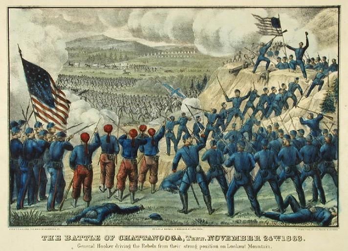 The Battle of Chattanooga. Hand-colored lithograph by E.B. and E.C. Kellogg, Hartford, 1863.  This popular prints shows some of the desperate fighting atop Lookout Mountain. The Connecticut Historical Society, 1948.13.18.