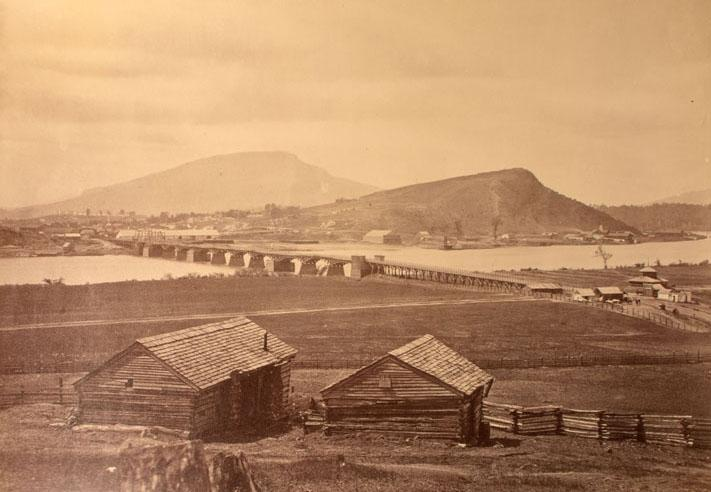 Distant View of Chattanooga.  Photograph by an unknown photographer, ca. 1865. Chattanooga is seen from across the Tennessee River with Missionary Ridge in the background.. The Connecticut Historical Society, 2013.225.1
