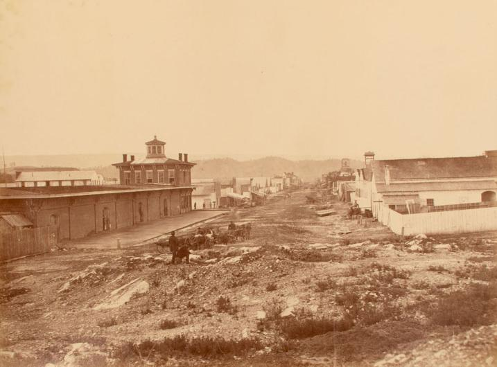 Street view of Chattanooga. Photograph by an unknown photographer, ca. 1865. Like other photographs in this sequence, this one was evidently taken shortly after the war. The Connecticut Historical Society, 2013.225.2