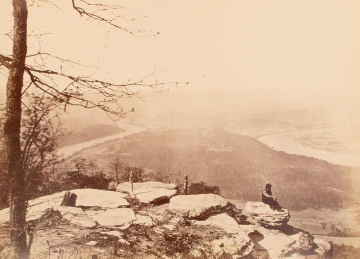 View from Lookout Mountain. Photograph by an unknown photographer, ca. 1865. Lookout Mountain provided the Confederates with a birdseye view of Chattanooga, in right distance. The Connecticut Historical Society, 2013.225.3