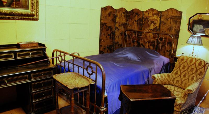 "Replica of bedroom where Proust penned ""In Search of Lost Time"" at Carnavalet Museum in Paris."