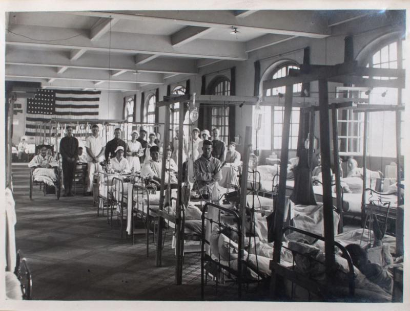 Ward 83, American Red Cross Military Hospital Number 1. Photograph, 1918. Many American soldiers suffered from influenza while serving in the United States and Europe during World War I. The Connecticut Historical Society, Gift of Mrs. Fritz W. Baldwin.