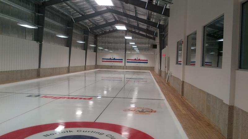 The brand new curling sheet at the Norfolk Curling Club