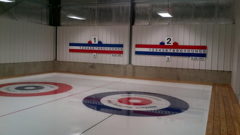 The curling scoreboard at the Norfolk Curling Club