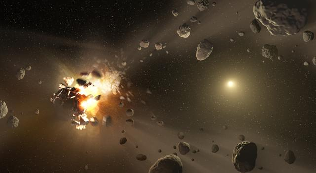 This artist's conception shows how families of asteroids are created. Over the history of our solar system, catastrophic collisions between asteroids located in the belt between Mars and Jupiter have formed families of asteroids in similar orbits.