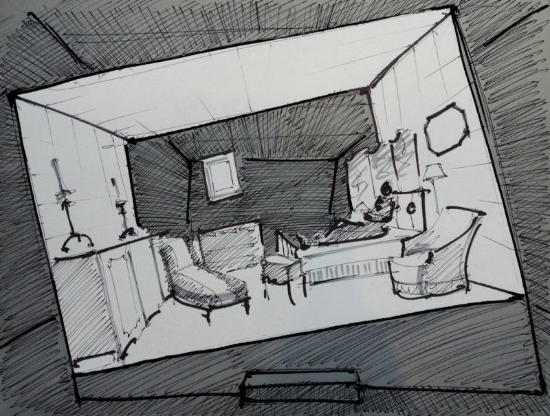 Sketch of the Proust marathon set at the Saybrook Underbrook Theatre.