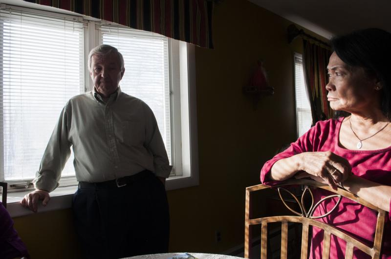 Jack and Fe Shanahan, who live part of the year in Enfield, recount surviving Typhoon Haiyan inside their Tolosa home.