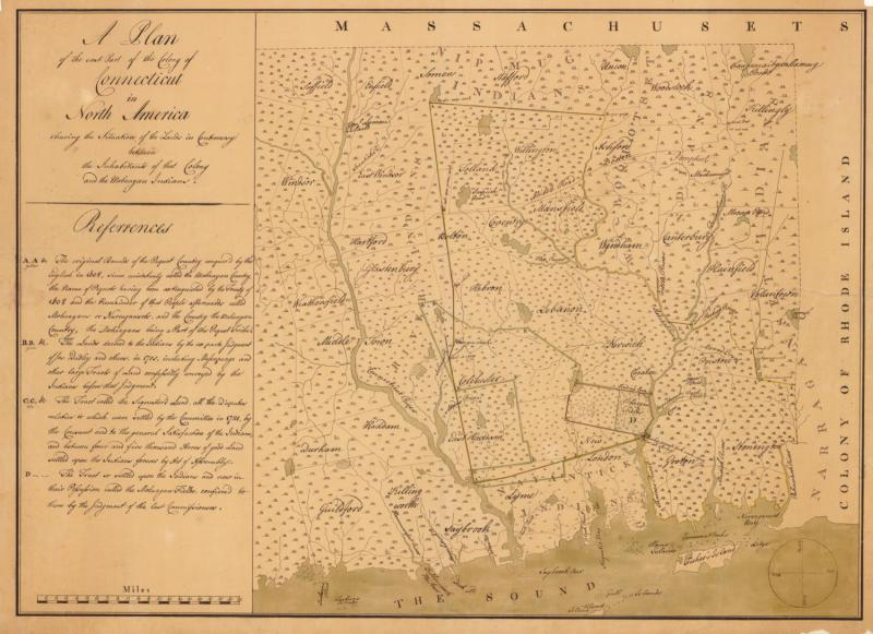 Map of the East Part of the Colony of Connecticut.  Manuscript map, ca. 1770. This map shows Mohegan lands claimed by the Colony of Connecticut. The Connecticut Historical Society, 1913.9.2.