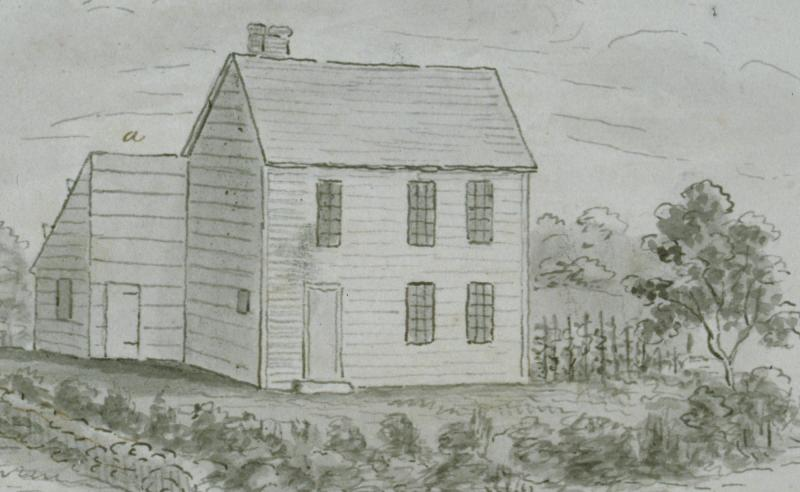 The house of Samson Occom in Mohegan, Montville, Conn.  Drawing by John Warner Barber, ca. 1835.  Occom is said to have lived in this modest frame house, using the lean-to as his study. The Connecticut Historical Society, 1953.5.175.