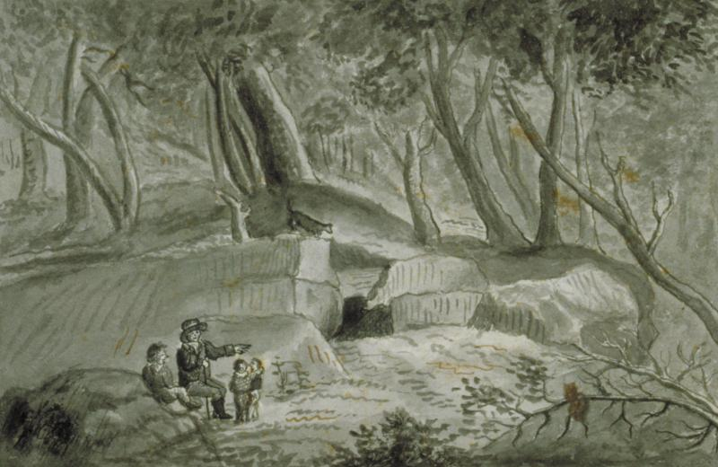 Putnam's Cave or Wolf Den. Drawing by John Warner Barber, ca. 1835. The story of Putnam and the wolf was an oft-repeated tale throughout the 18th and 19th centuries. Connecticut Historical Society, 1953.5.313