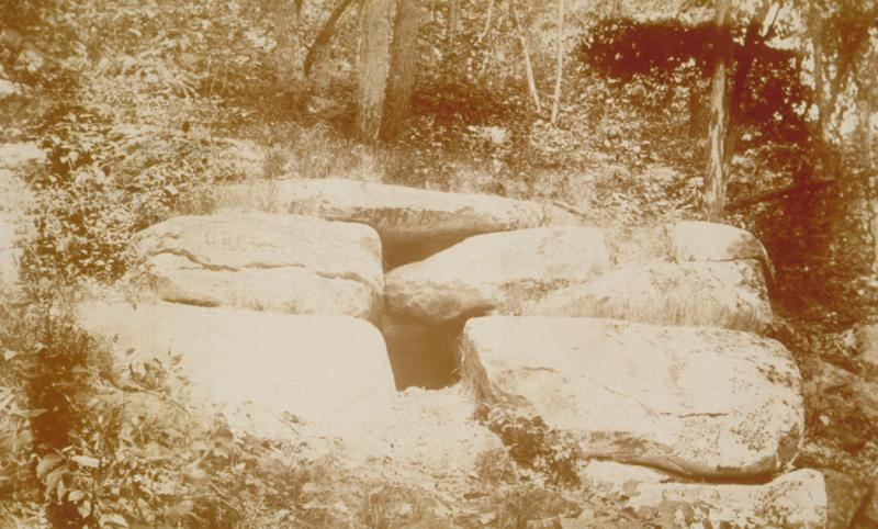 Israel Putnam's Wolf Den. Photography by an unknown photographer, ca. 1900.  History buffs continued to trek to the Wolf Den throughout the 1800s. Connecticut Historical Society, X.2000.35.181