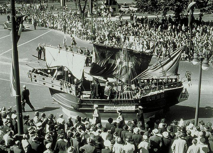 Tercentenary parade: Italian-American float, Trinity Street at Capitol Avenue. Photograph,1935, Italian-Americans proudly celebrated their heritage in Connecticut's Tercentennial Celebration. The Connecticut Historical Society, X.2000.28.4