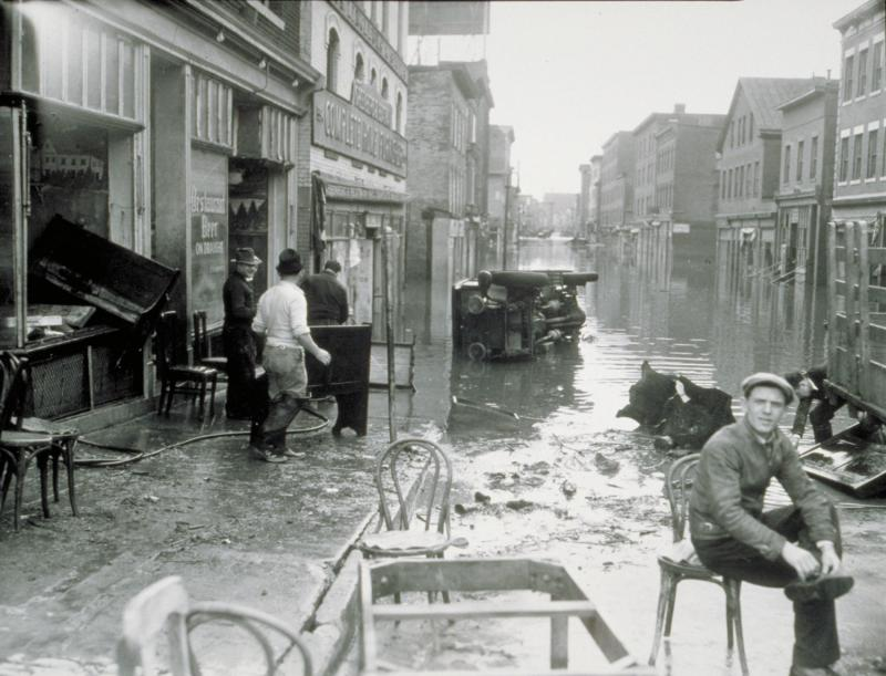 Flood of 1936, Front Street, Hartford. Photograph, 1936. The flood of March, 1936 devastated Hartford's Italian-American neighborhood.  The Connecticut Historical Society, X.2000.34.60