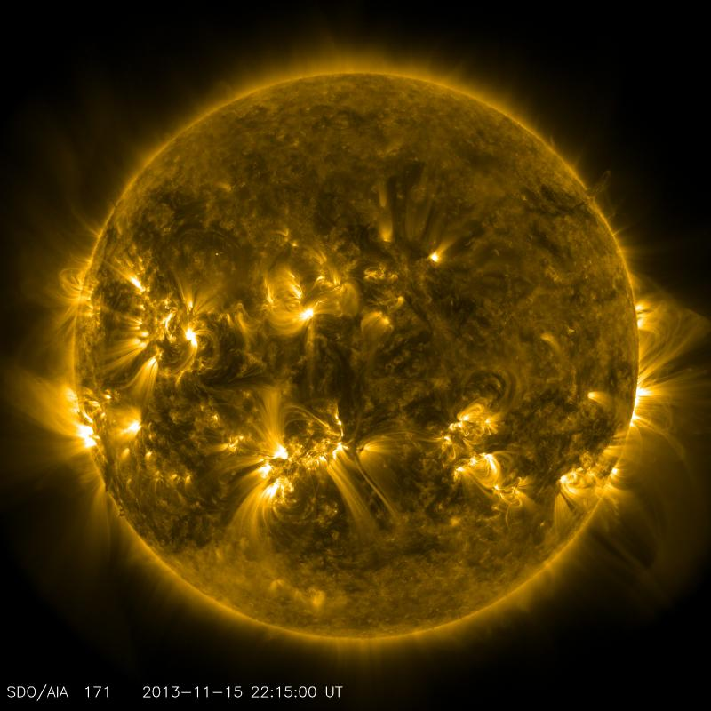 This image taken on Nov. 15, shows the current conditions of the quiet corona and upper transition region of the Sun.