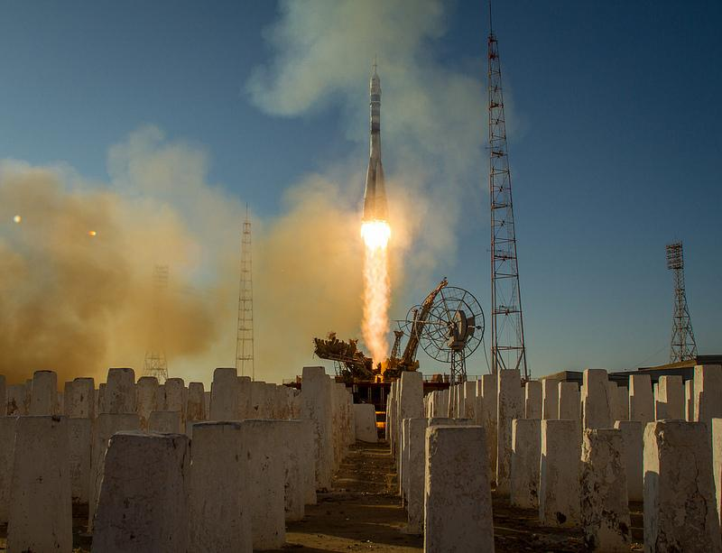 The Soyuz TMA-11M rocket is launched with Expedition 38 Soyuz Commander Mikhail Tyurin of Roscosmos, Flight Engineer Rick Mastracchio of NASA and Flight Engineer Koichi Wakata of the Japan Aerospace Exploration Agency.