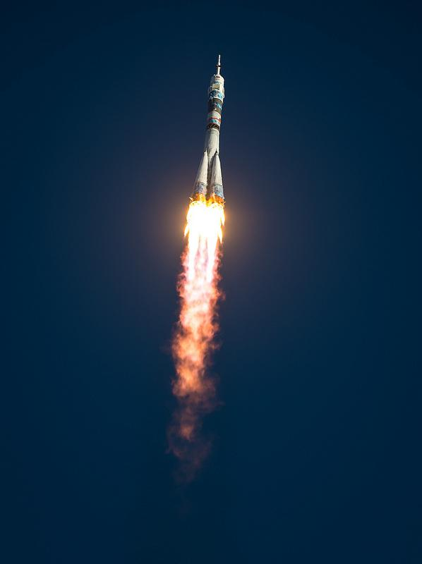 The Soyuz TMA-11M rocket is launched with Expedition 38 Soyuz Commander Mikhail Tyurin of Roscosmos, Flight Engineer Rick Mastracchio of NASA and Flight Engineer Koichi Wakata of the Japan Aerospace Exploration Agency onboard, Thursday, Nov. 7, 2013.